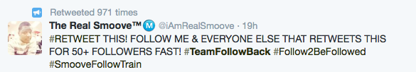 Typical tweet of team follow back