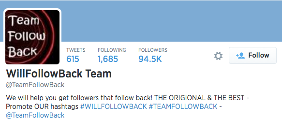 Team Follow Back actually has quite a few twitter accounts, claiming to gain followers.